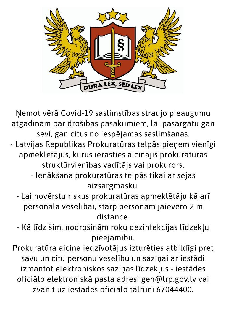 Informācija Latvijas Republikas Prokuratūras apmeklētājiem saistībā ar COVID-19 izplatību -